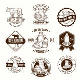 Set of vector illustrations, badges, stickers, labels, logo, stamps for milk and dairy products Stock Photo