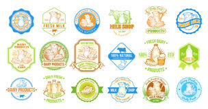 Set of vector illustrations, badges, stickers, labels, stamps for milk and dairy products Royalty Free Stock Photo