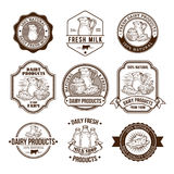 Set of vector illustrations, badges, stickers, labels, stamps for milk and dairy products Royalty Free Stock Image