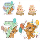 Set of vector illustrations with brown teddy bear, birthday cake and number 7. Royalty Free Stock Image