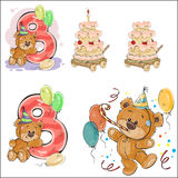 Set of vector illustrations with brown teddy bear, birthday cake and number 8. Royalty Free Stock Photo