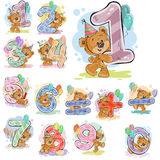 A set of vector illustrations with a brown teddy bear and numerals and mathematical symbols. Stock Photography