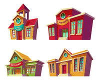Set of vector illustrations cartoon of various color educational institutions, schools. Royalty Free Stock Photos