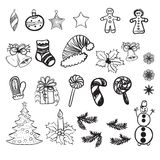Set of vector illustrations of Christmas doodles Stock Images