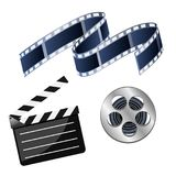 Set of vector illustrations cinema consisting of coil with film,. Film and black clapperboard isolated on white background Royalty Free Stock Images