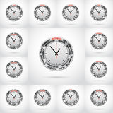 Set vector  illustrations of clock Stock Photography