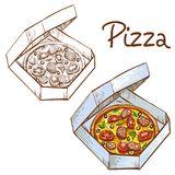 Set of vector illustrations of color and black and white whole pizza in a take-away box. royalty free illustration