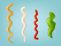 Set of vector illustrations, color icons of spilled strips of different sauces. Stock Photography