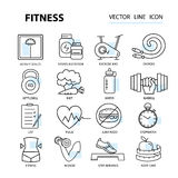 Set of vector illustrations for design fitness and sports clubs. Royalty Free Stock Image