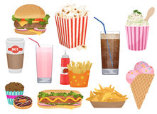 The set of vector illustrations of the different appetizing fast food. Fast food icons menu set. Stock Photography