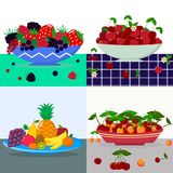 A set of vector illustrations of a plate of fruits and berries on a table. A set of vector illustrations different berries in a blue plate, Red cherry in a royalty free illustration