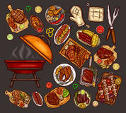 Set of vector illustrations, elements for barbecue. With brazier, BBQ accessories, grilled food, various meat, sausages, vegetables and sauces isolated on gray royalty free illustration