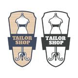 A set of vector illustrations of emblems, signboards, labels, tailor shop stickers. Set of vector illustrations of emblems, signage, stickers, stickers, tailor Royalty Free Stock Image
