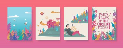 Set of vector illustrations for the fairy tales about the ancient forest book. royalty free stock photo