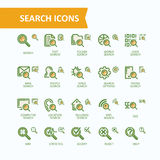 Set of vector illustrations fine line icons of analysis, search of information.  Royalty Free Stock Photos
