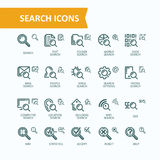 Set of vector illustrations fine line icons of analysis, search of information. 32x32 and 16x16 pixel perfect Stock Images