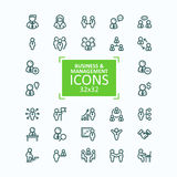 Set of vector illustrations fine line icons, collection of business people icons, personnel management Royalty Free Stock Image