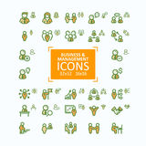 Set of vector illustrations fine line icons, collection of business people icons, personnel management Stock Photo