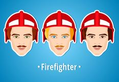 Set of vector illustrations of a firefighter. Man firefighter. Icon. Flat icon. Minimalism. The stylized Man. Occupation. Job. Uniforms, fire helmet. The Royalty Free Stock Photos