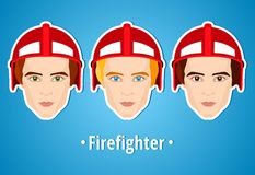 Set of vector illustrations of a firefighter. Man firefighter. Icon. Flat icon. Minimalism. The stylized Man. Occupation. Job. Uniforms, fire helmet. Set of Royalty Free Stock Photo