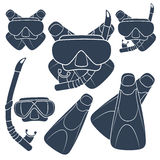 Set of vector illustrations with flippers, mask and snorkel. EPS10 Stock Photos