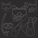Set of vector illustrations with flippers, mask and snorkel. EPS10 Royalty Free Stock Image
