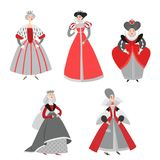 Set of vector illustrations of funny cartoon queens in historical costumes. Fairy tale characters. Set of vector illustrations of funny cartoon queens in Stock Images