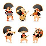 Set of vector illustrations of funny dogs in mariachi costumes with traditional musical instruments on a white background Stock Photos