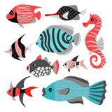 Set of vector illustrations of funny tropical fish.  Sea life. Cute isolated illustrations on white background Royalty Free Stock Photo
