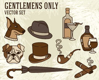 Set of vector illustrations for gentlemen. Icon set Stock Photos