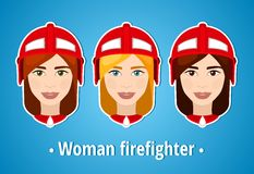 Set of vector illustrations of a girl firefighter. Woman firefighter. Icon. Flat icon. Minimalism. The stylized girl. Occupation. Stock Photos