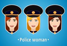 Set of vector illustrations of a girl police. Woman police. The girl's face. Icon. Flat icon. Minimalism. The stylized girl. Royalty Free Stock Images