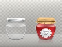 A set of vector illustrations of glass figured jars is empty and with raspberry jam covered with a lid and paper tied. A set of vector illustrations in a Royalty Free Stock Photos
