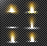 Set of vector illustrations of a golden light ray with glitter, a light beam Stock Photography