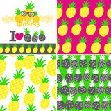Set of vector illustrations with hand drawn pineapple. Royalty Free Stock Photo