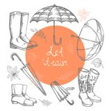 Set of vector illustrations of hand-drawn umbrellas, rubber boots and autumn leaves. Stock Photography