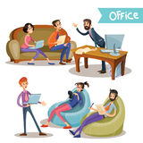 Set of vector illustrations of the head with subordinates, office workers, partners Royalty Free Stock Photos