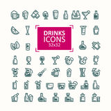 Set of vector illustrations of icons of drinks. Stock Images
