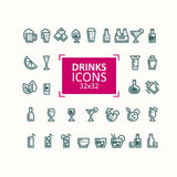 Set of vector illustrations of icons of drinks. Royalty Free Stock Photography