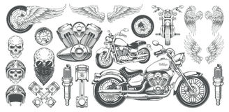 Set of vector illustrations, icons of vintage motorcycle in various angles, skulls, wings. Set of vector illustrations, icons of hand-drawn vintage motorcycle in Stock Photo
