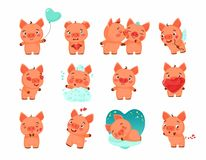 Set of Vector Illustrations - isolated Emoji character cartoon piglet in love. Stickers emoticons with different emotions for info graphic, animation, websites stock illustration