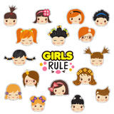 The set of vector illustrations of kids faces with the girls rule text. Child hair style with different emotions. Cute vector illustration