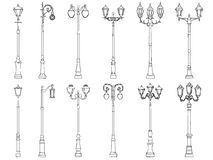 Set of vector illustrations of lamppost. Stock Photo