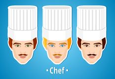 Set of vector illustrations of a male chef. Man. The mans's face. Icon. Flat icon. Minimalism. The stylized Man. Occupation. Job. Royalty Free Stock Photos