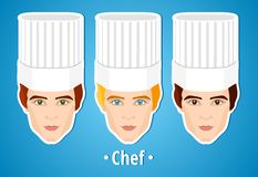 Set of vector illustrations of a male chef. Man. The mans's face. Icon. Flat icon. Minimalism. Stock Photo