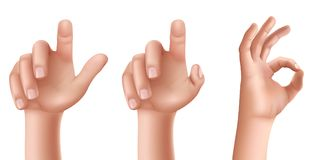 Male or female hands with raised index finger and gesture OK. Set of vector illustrations of male or female hands with a raised index finger pointing upwards and Royalty Free Stock Photo
