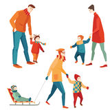 Parents and children walking in the winter royalty free illustration