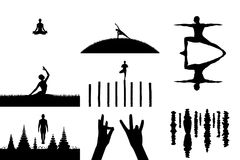 Set of vector illustrations with people in yoga poses asanas stock illustration