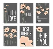 Set of Vector Illustrations. Perfect for birthday cards, posters, banners, stickers, labels with flowers on dark background. Set o. F 6 printable templates Stock Photography