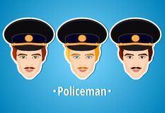 Set of vector illustrations of a policeman. Policeman. The man's face. Icon. Flat icon. Minimalism. The stylized man. Occupation. Royalty Free Stock Photos